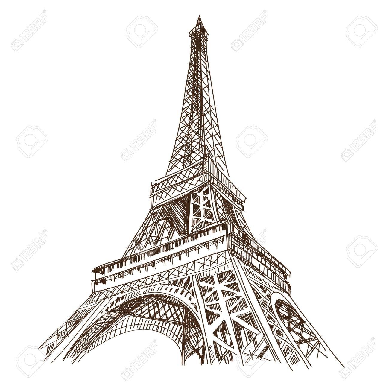 Tour Eiffel Banque D'images, Vecteurs Et Illustrations Libres De destinés à Dessin Tour Eiffel